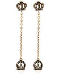 Alcozer & J Crown Pearl Long Earrings - Metallic