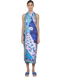 Emilio Pucci プリントシルクツイルドレス - ブルー