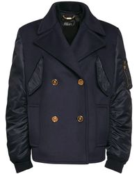Versace Wool & Nylon Double Breasted Coat - Blue