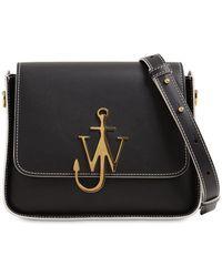 """JW Anderson Borsa """"anchor"""" In Pelle Con Logo - Nero"""