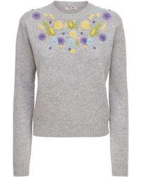 Miu Miu Verzierter Pullover - Grau