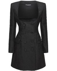 Dolce & Gabbana コットンジャカードツイードブレザードレス - ブラック