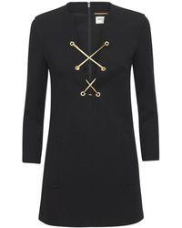 Saint Laurent - Мини-платье Из Шерстяного Джерси - Lyst