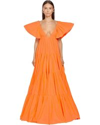 Valentino タフタロングドレス - オレンジ