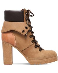 See By Chloé - 100mm Suede Lace-up Hiking Boots - Lyst