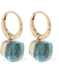 """Pomellato Pendientes """"nudo"""" De Oro 18kt Y Topacio Azul"""