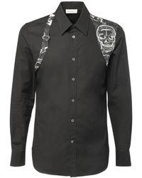 Alexander McQueen Рубашка Из Хлопкового Поплин - Черный