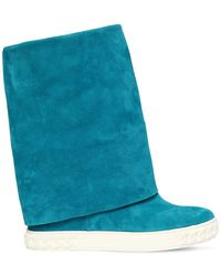 Casadei 80mm Suede Wedge Trainers - Blue