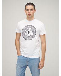 Versace Jeans Couture Хлопковая Футболка С Принтом Логотипа - Белый