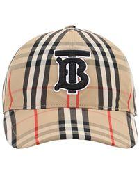 Burberry Cappello Baseball In Cotone Check - Neutro