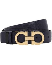 Ferragamo Adjustable & Reversible Gancini Leather Belt - Blue