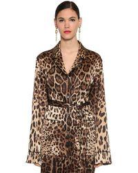 Dolce & Gabbana Рубашка Из Атласа С Принтом - Коричневый