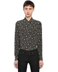 Saint Laurent Yves Skull Printed Silk Shirt - Black
