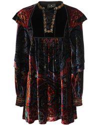 Etro ベルベットミニドレス - ブラック