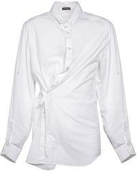 Ann Demeulemeester Dree Slouch Contort Cotton Poplin Shirt - White