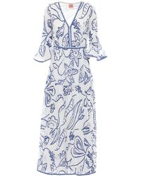 Le Sirenuse Bella コットンクレープドレス - ブルー