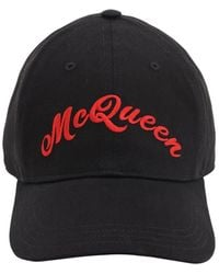 Alexander McQueen Gorra de béisbol con bordado del logo - Negro