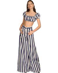 Sunnei Striped Cotton Blend Crop Top - Multicolour