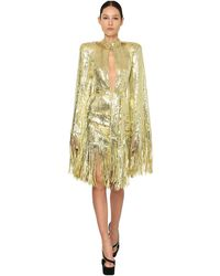 Balmain Sequined Mini Dress W/ Fringes - Metallic