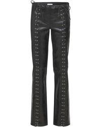 Saks Potts Christina Lace-up Vintage Leather Pants - Black