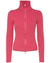 MM6 by Maison Martin Margiela Cotton & Wool Rib Knit Zip Cardigan - Pink