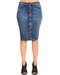 Marina Rinaldi - Cotton Denim Pencil Skirt - Lyst