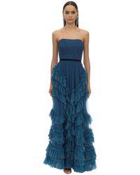 Marchesa notte ドレープ&ラッフルチュール ロングドレス - ブルー
