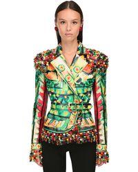 Moschino Torero Print Leather Jacket W/ Beads - Green