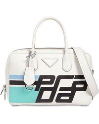 Prada - Printed Logo Leather Tote Bag - Lyst
