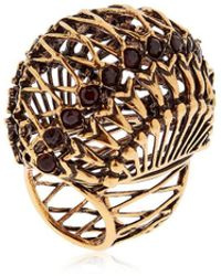 Alcozer & J Brass Ring W/ Garnet Stones - Metallic