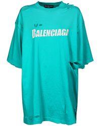 Balenciaga オーバーサイズオーガニックコットンジャージーtシャツ - ブルー