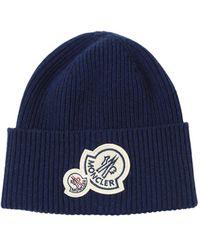 Moncler ウール&カシミア ビーニー帽 - ブルー