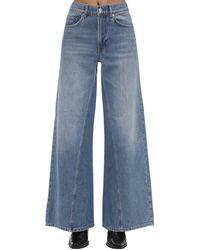 Ganni Wide Leg Cotton Denim Jeans - Blau