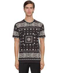 Dolce & Gabbana T-Shirt Aus Baumwolle Mit Bandana- Und Kronen-Print - Schwarz