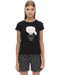 Karl Lagerfeld コットンジャージーtシャツ - ブラック