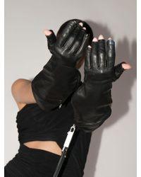 Rick Owens レザー手袋 - ブラック