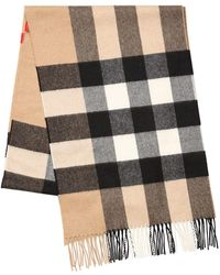 Burberry - Macro Check Fringed Cashmere Scarf - Lyst