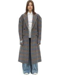 ADER error Oversized Double Breast Wool Coat - Brown