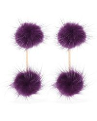 Tuleste - Mini Mink Pom Pom Double Earrings - Lyst