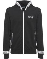EA7 ジップアップコットンスウェットシャツ - ブラック