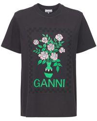 Ganni Flowers コットンジャージーtシャツ - ブラック