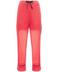 Koche Pantalon À Fines Rayures Avec Bandes Latérales - Rouge