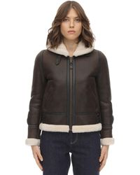 Schott Nyc Lcw 1257 Hooded Leather Aviator Jacket - Brown