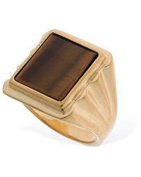Bottega Veneta Tiger Eye Squared Ring - Metallic