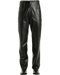 Vejas Leather Pants W/ Contrasting Stitching - Black