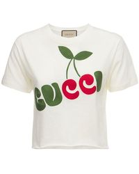 Gucci T-shirt In Jersey Di Cotone - Bianco