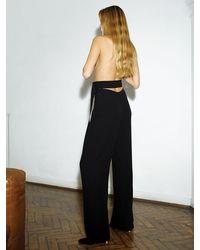 Victoria Beckham クレープサテンパンツ - ブラック