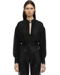 Proenza Schouler シルククレープシャツ - ブラック