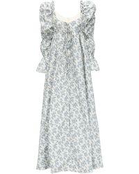 Brock Collection プリントコートドレス - ブルー