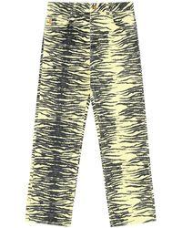 Ganni Bedruckte Bootcut-jeans Aus Bio-baumwolle - Mehrfarbig
